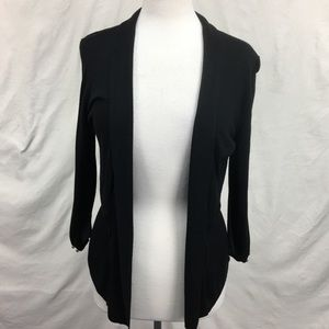 WHBM Black Ribbed Knit Open Front Cardigan Sz S